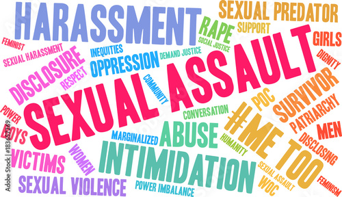 Sexual Assault Word Cloud on a white background. Canvas Print