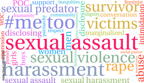 Photo Sexual Assault Word Cloud on a white background.