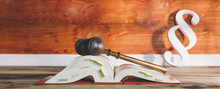 German Law Book With Gavel And...