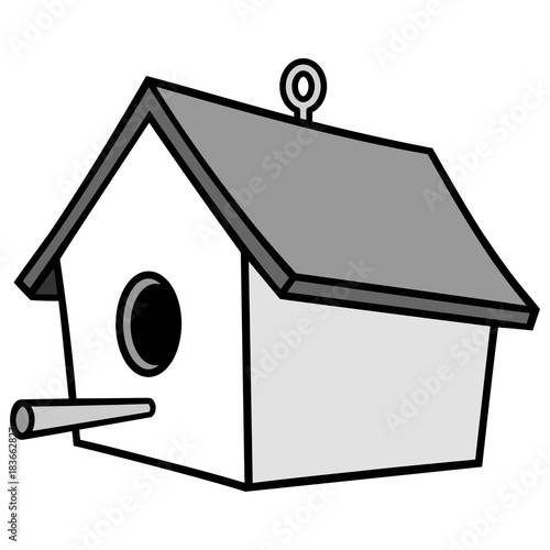 Birdhouse with Hanger Illustration - A vector illustration of a cartoon Birdhouse with a Hanger Canvas Print