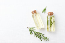 Organic Cosmetics With Extracts Of Herbs Rosemary On White Background.