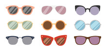 Fashion Sunglasses Accessory Sun Glasses Spectacles Plastic Frame Goggles Modern Eyeglasses Vector Illustration.
