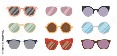 Fotografia, Obraz Fashion sunglasses accessory sun glasses spectacles plastic frame goggles modern eyeglasses vector illustration