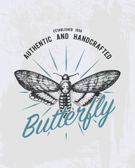 tee print butterfly, hawk moths or animal. t-shirt graphics design. Vector grunge background. vintage lettering and poster, print or banner. america typography. engraved hand drawn. insect with wings.
