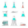 Scientific set of laboratory glassware, materials and tools. Flat line design concept. Vector illustration.