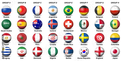 Fotografia  soccer balls flags countries final tournament  2018 football