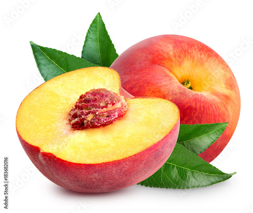 Deurstickers Vruchten Peach fruit slice