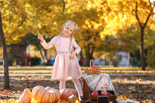 Cute Little Girl Wearing Princ...