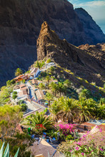 Beautiful Aerial View Over The Famous Masca Village In Tenerife, Canary Island, Spain