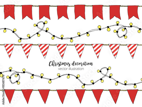 Christmas Lights Cartoon.Colorful Hand Drawn Doodle Bunting Banners Christmas Lights