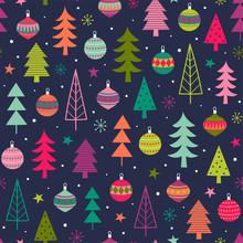 Colorful Christmas Trees And B...