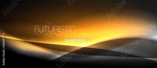 Neonowa rozjarzona fala, magiczna energia i lekki ruchu tło
