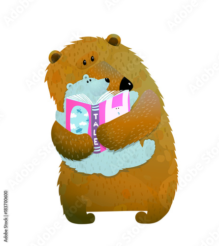 mother or father bear reading book to bear cub vector illustration