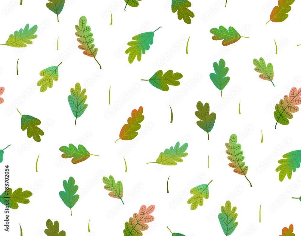 Fototapeta Gradiens colorful hand drawn foliage seamless wallpaper transparent background.Vector illustration. Vector illustration.
