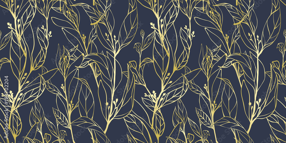 Fototapety, obrazy: Seamless pattern, hand drawn golden leaves with small flowers on dark blue background