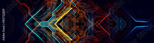 Canvastavla  Printed circuit board/Abstract technological background made of different element printed circuit board