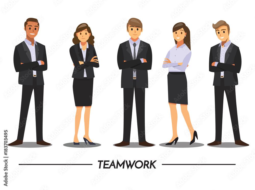 Fototapeta Business People teamwork ,Vector illustration cartoon character.