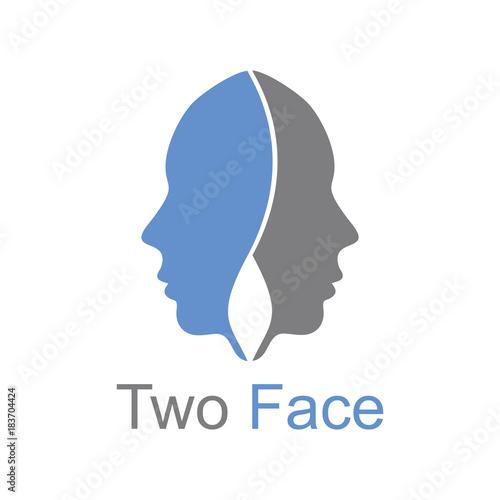 Two Face Logo Vector Template Design Tapéta, Fotótapéta