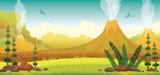 Fototapeta Dinusie - Prehistoric landscape - volcano, pterodactyls, grass