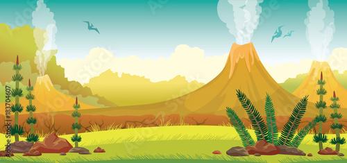 Obraz na plátně  Prehistoric landscape - volcano, pterodactyls, grass