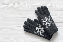 Womens Winter Warm Accessories On White Background With Copy Space. Woolen Knitted Gloves. Fashion Concept.  View From Above, Top View. Flat Lay.