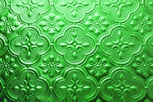 Colorful Green Seamless Texture. Vintage Glass Background. Interior Wall Decoration 3D Wall Pattern Abstract Floral Glass Shapes Background For Any Id Card Business Card Concept. Retro Colored Window