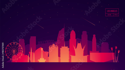 Los Angeles skyline buildings vector illustration Tapéta, Fotótapéta
