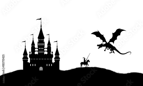 Foto op Canvas Kasteel Black silhouette of dragon and knight on white background. Landscape with castle. Fantasy battle. Vector illustration