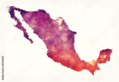Mexico watercolor map in front of a white background Canvas Print
