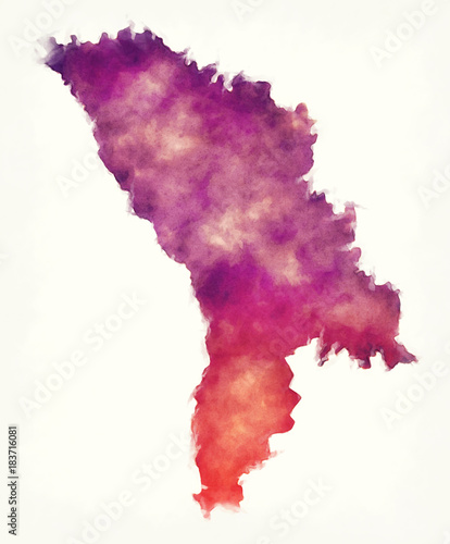 Moldova watercolor map in front of a white background Canvas Print