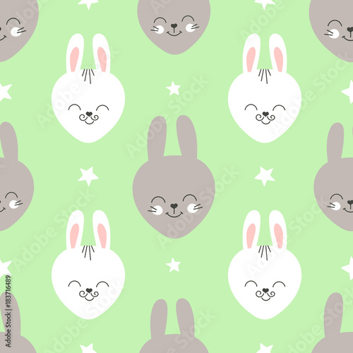 Fabric-Funny Baby faces with green background