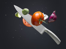 A Knife Cutting Cucumber, Toma...