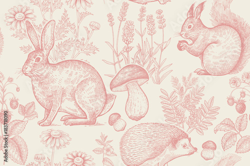 mata magnetyczna Seamless pattern with animals and flowers.