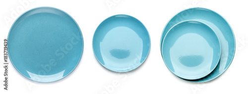 Three variants of blue cymbals. Isolated on white background..