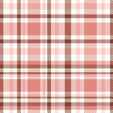 Seamless Tartan Plaid Pattern. Checkered Fabric Texture Print In Pastel Palette Of Soft Red, Pale Pink, Chestnut Brown And White.