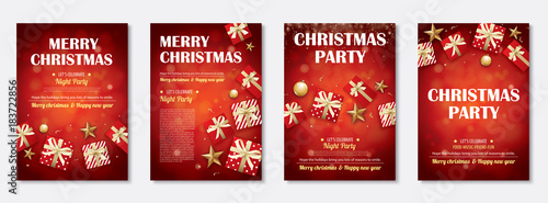 Merry Christmas Party And Gift Box For Flyer Brochure Design On Red