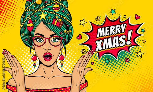 Photo sur Toile Pop Art Wow pop art Christmas face. Sexy surprised woman in glasses with open mouth, New Year tree on head rises her hands . Vector bright illustration in retro comic style. New Year party invitation poster.