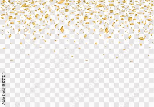 Fototapeta Golden confetti isolated on checkered background. Festive vector illustration obraz na płótnie