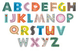 decorative alphabet in Scandinavian style color colorful  - vector illustration, eps - 183728027