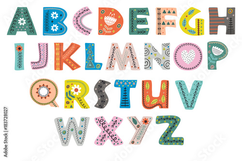 Canvas Print decorative alphabet in Scandinavian style color colorful  - vector illustration,