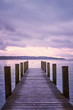 Empty wooden pier on Lake Starnberg in Bavaria, Germany