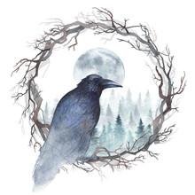 Dark Raven Sitting In A Wreath...