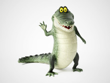 3D Rendering Of A Cartoon Croc...