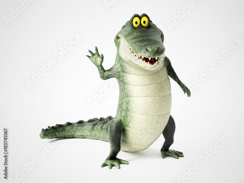 3D rendering of a cartoon crocodile waving. Tableau sur Toile