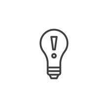 Idea Lightbulb Line Icon, Outl...