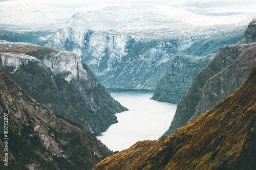 Staande foto Nieuw Zeeland Fjord and Mountains Naeroyfjord Landscape aerial view in Norway beautiful scenery scandinavian wild nature