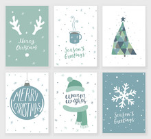 Set Of 6 Cute Christmas Cards With Hand Written Lettering