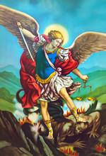 San Michele Arcangelo,immagine Sacra Di Arte Antica,popolare Devozionale