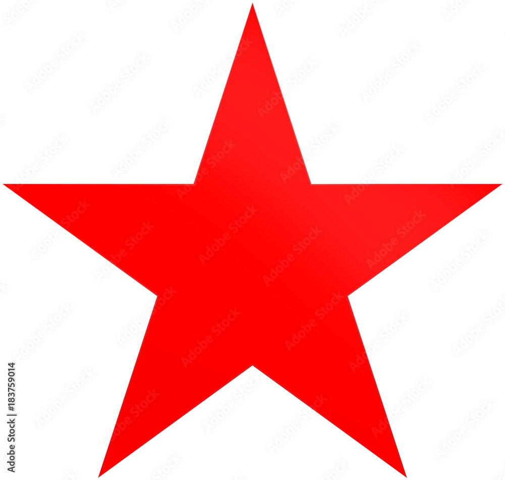 Fototapety, obrazy: Christmas star red - simple 5 point star - isolated on white