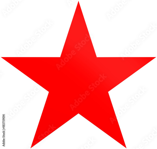 Christmas star red - simple 5 point star - isolated on white